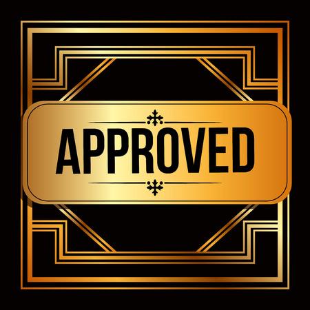 passed stamp: approved seal design, vector illustration  Illustration