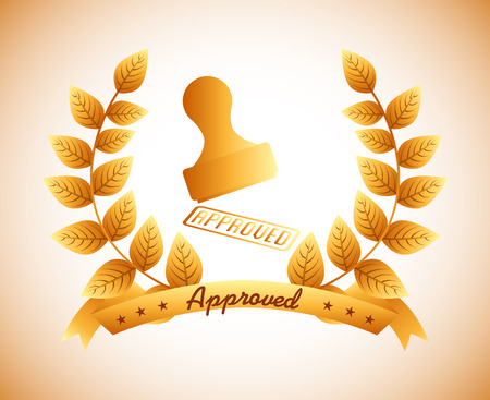 accepted label: seal of approval design, vector illustration