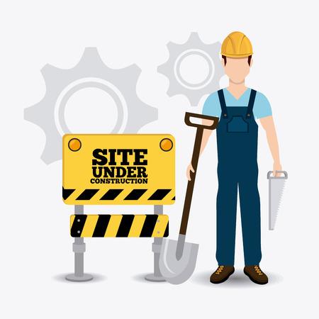 warning saw: Construction design over white background, vector illustration.