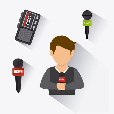 journalism: Journalism design over white background, vector illustration.