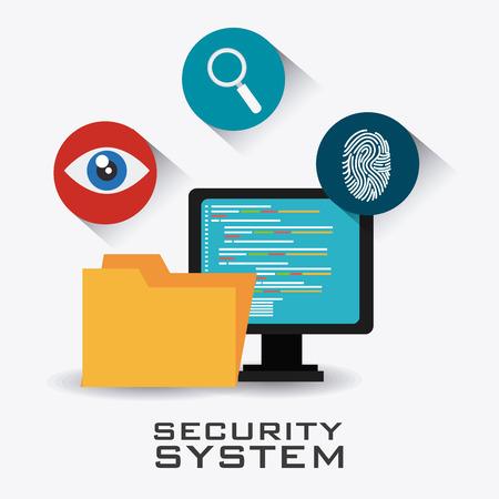 covering eyes: Security system design over white background, vector illustration. Illustration
