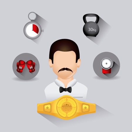 box weight: Boxing design over gray background, vector illustration. Illustration