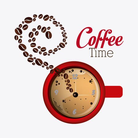 time over: Coffee time design over white background, vector illustration.