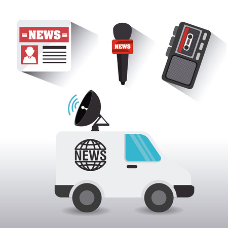 news van: Journalism design over white background, vector illustration.