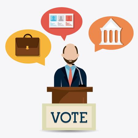 minister: Vote design over white background, vector illustration.