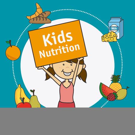 aliment: Kids food design over blue background, vector illustration. Illustration