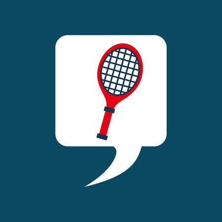 raqueta de tenis: diseño de la burbuja del discurso, ilustración vectorial gráfico eps10