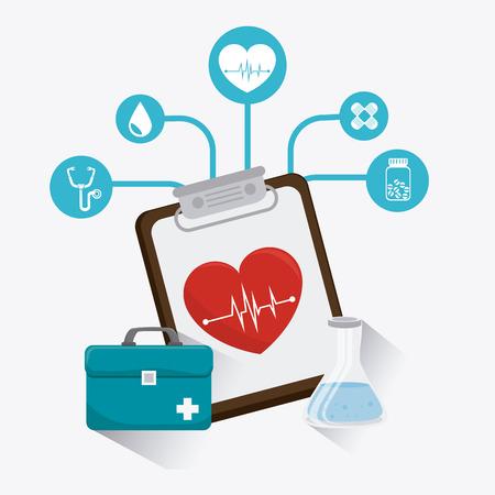 emergencia medica: Diseño médico sobre el fondo blanco, ilustración vectorial. Vectores