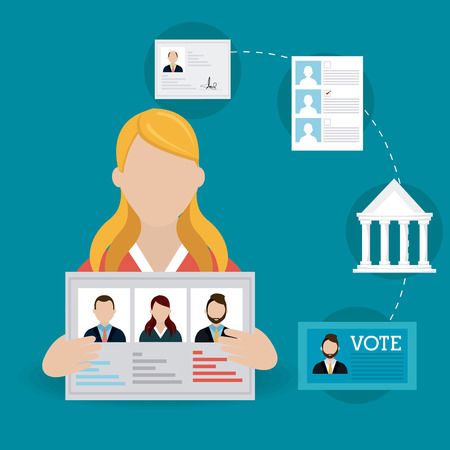 voter: Vote design over blue background, vector illustration.