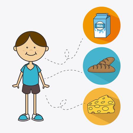 aliment: Kids food design over white background, vector illustration.