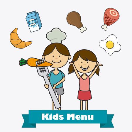 kitchen cartoon: Dise�o de la comida de los ni�os sobre fondo blanco, ilustraci�n vectorial.
