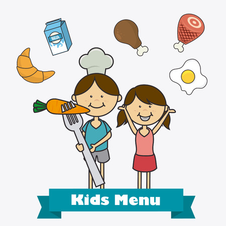 food and beverages: Kids food design over white background, vector illustration.