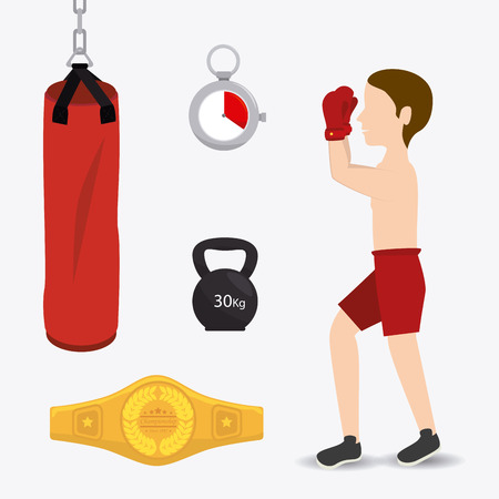 box weight: Boxing design over white background, vector illustration.
