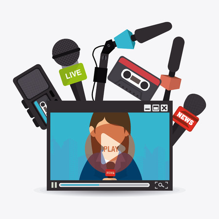 internet network: Journalism design over white background, vector illustration.