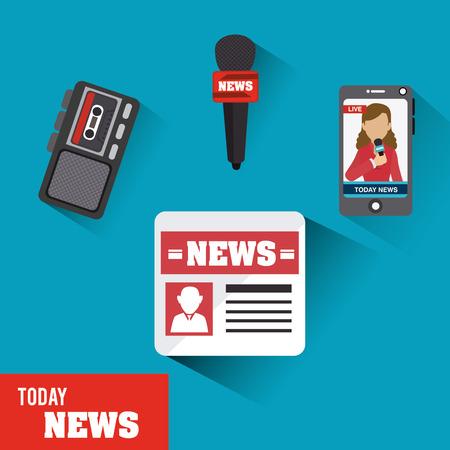 journalism: Journalism design over blue background, vector illustration. Illustration