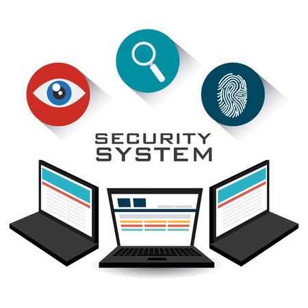 eye service: Security system design over white background, vector illustration. Illustration