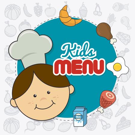 chef caricatura: Diseño de la comida de los niños sobre fondo blanco, ilustración vectorial.