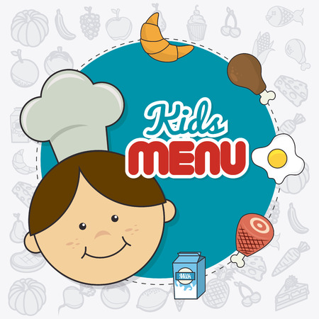 little chef: Kids food design over white background, vector illustration.