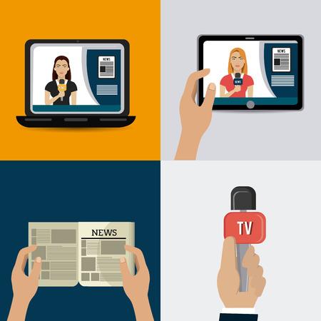 journalism: Journalism design over colorful background, vector illustration.