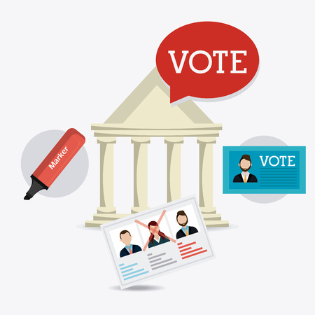voter: Vote design over white background, vector illustration.