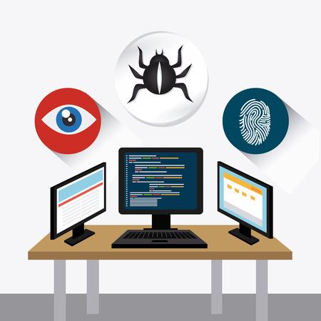 nternet: Security system design over white background, vector illustration. Illustration
