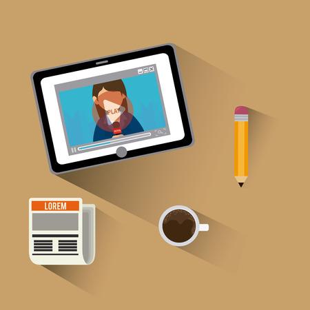 journalism: Journalism design over beige background, vector illustration.