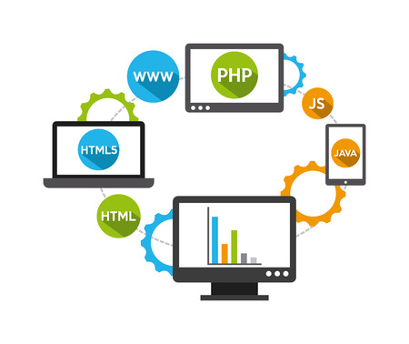 web development: programming software design, vector illustration  Illustration