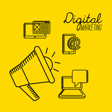 arroba: digital marketing design, vector illustration
