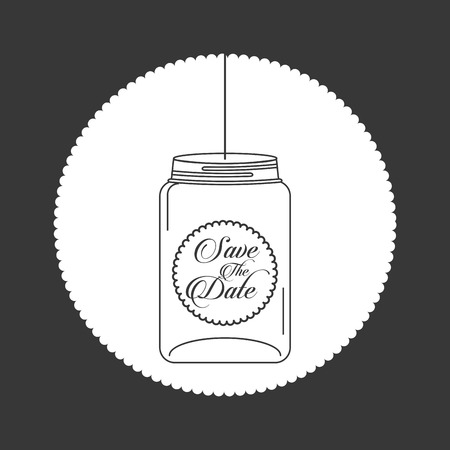 save the date: mason jar design, vector illustration