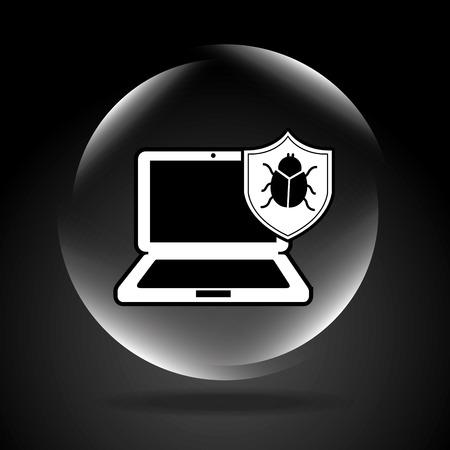 tester: virus computer design, vector illustration  Illustration