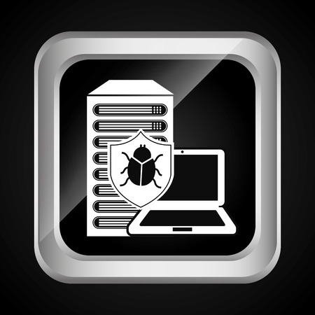 detected: virus computer design, vector illustration  Illustration