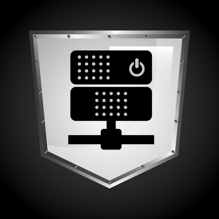 protected database: data center design, vector illustration