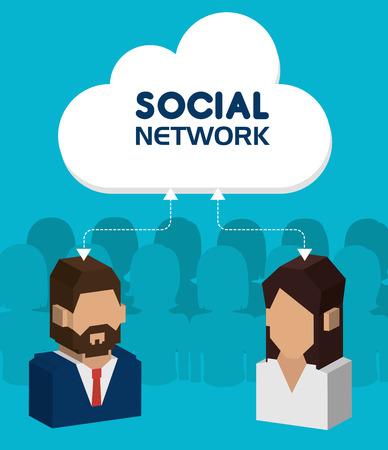 Social network design over blue background, vector illustration. Vector