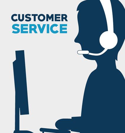 communication cartoon: Customer design over white background, vector illustration.