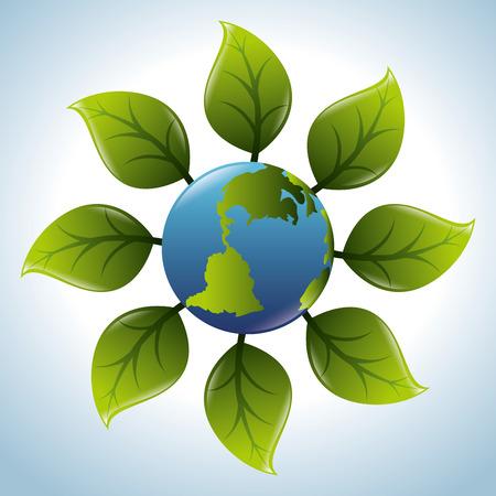 safe world: Ecology design over blue background, vector illustration.