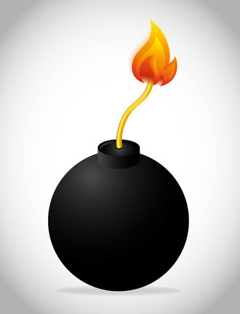 detonation: Bomb design over white background, vector illustration. Illustration