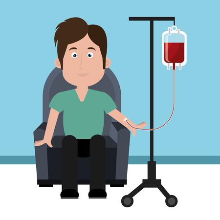 Blut-Design auf blauem Hintergrund, Vektor-Illustration. Illustration