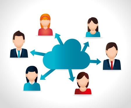 Sociaal netwerk ontwerp op een witte achtergrond, vector illustratie. Stock Illustratie