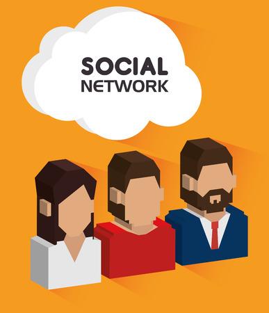 Social network design over yellow background, vector illustration. Vector