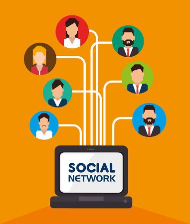 socialising: Diseño de la red social sobre el fondo blanco, ilustración vectorial.