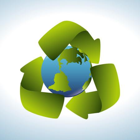 safe world: Ecology design over white background, vector illustration.