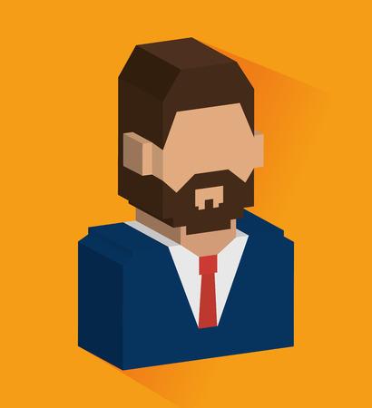 perpective: People design over orange background, vector illustration.