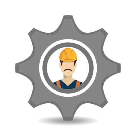 in the reconstruction: Construction design over white background, vector illustration.