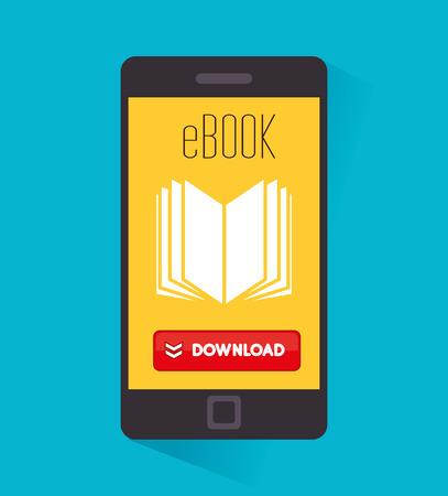 read magazine: Ebook design over blue background, vector illustration. Illustration