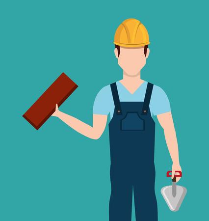 carpentry cartoon: Construction design over blue background, vector illustration.
