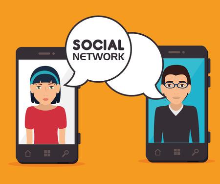 socialising: diseño sobre fondo naranja, ilustración vectorial.