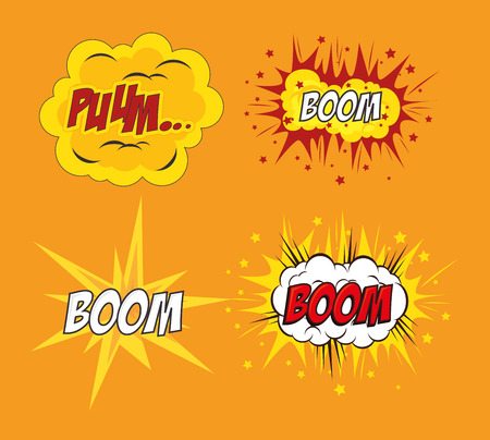 fission: Comic design over yellow background, vector illustration.