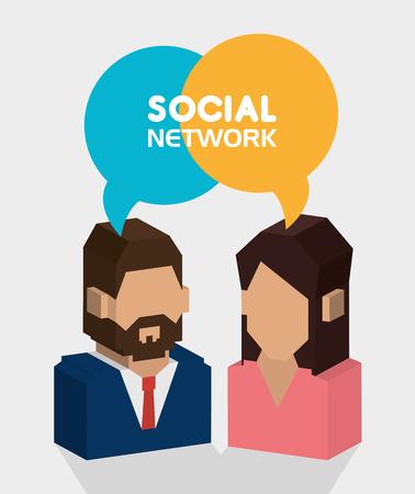 Social network design over white background, vector illustration. Vector