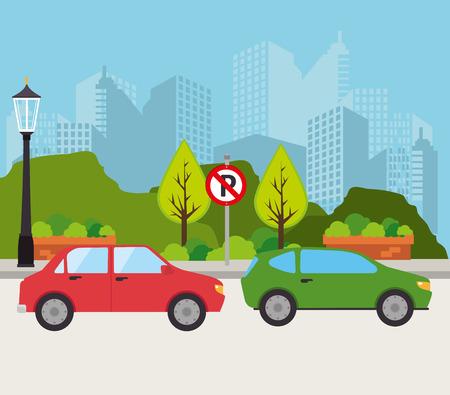 car window: Car design over cityscape background, vector illustration.