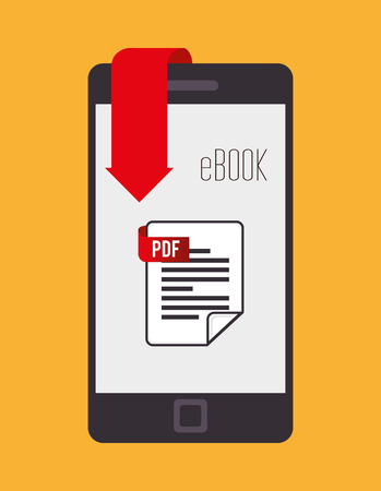read magazine: Ebook design over yellow background, vector illustration. Illustration